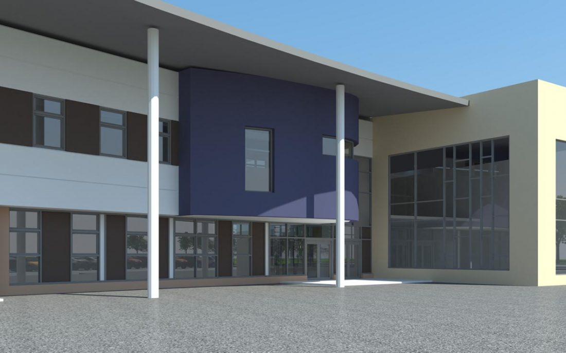 Vale of Leven Academy simulated entrance view