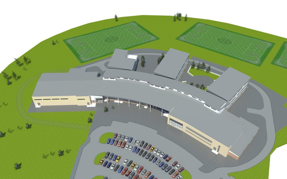 Vale of Leven Academy simulated aerial view