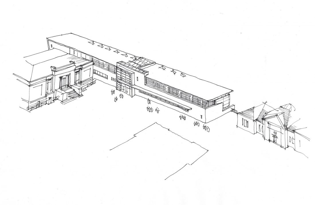 Edinburgh Academy The James Clerk Maxwell Science Centre Entrance Sky View Drawing
