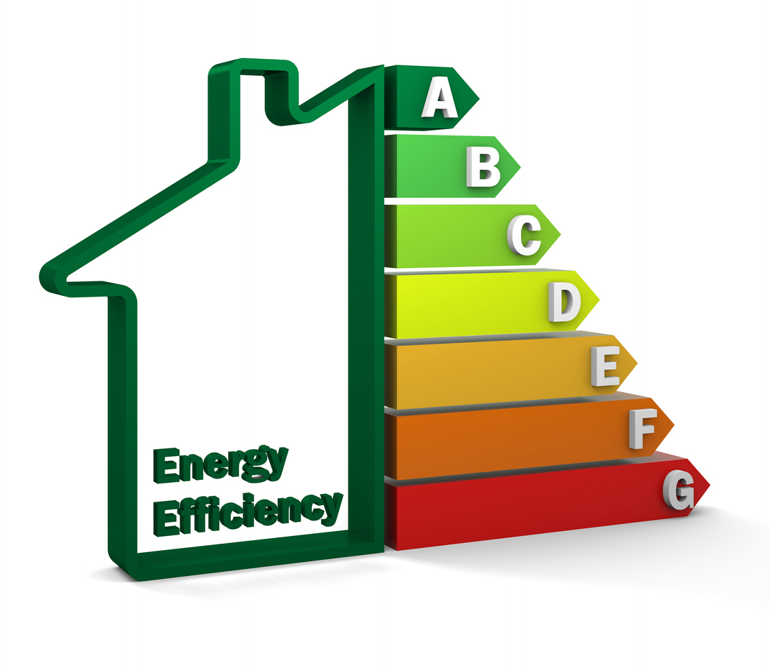 Half house half bar graph showing energy efficiency